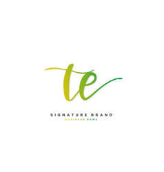 T e te initial letter handwriting and signature vector