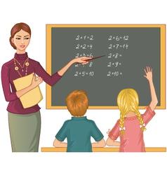 Teacher at blackboard explains children mathematic vector