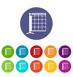 tennis net icons set color vector image