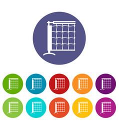 tennis net icons set color vector image