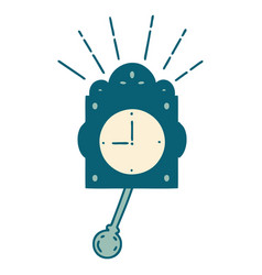 Traditional tattoo style ticking clock vector