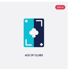 two color ace clubs icon from entertainment vector image