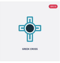 Two color greek cross icon from religion concept vector