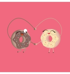two donuts make heart shape funny cartoon vector image