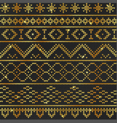 Ugly sweater pattern gold vector