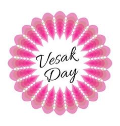 Vesak day card with pink lotus vector
