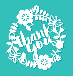vintage paper cut floral wreath with thank you vector image