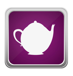 Violet square button relief with silhouette tea vector