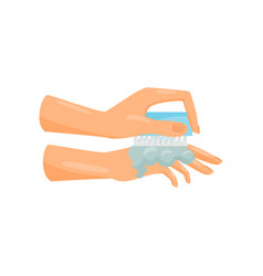 Washing hands with soap and brush prevention of vector