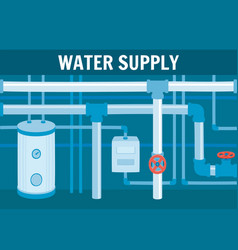 Water circulation system equipment in basement vector
