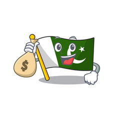 With money bag flag pakistan cartoon hoisted on vector