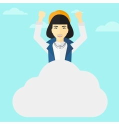 Woman sitting on cloud vector image