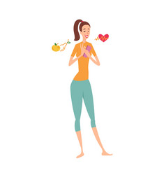 Woman using fitness smartphone application vector