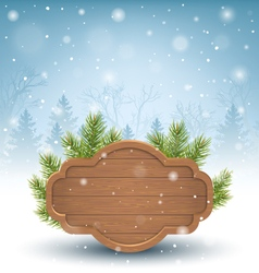 Wooden Frame with Pine Branches in Snow on Blue vector image