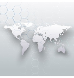 World map connecting lines and dots on gray color vector image
