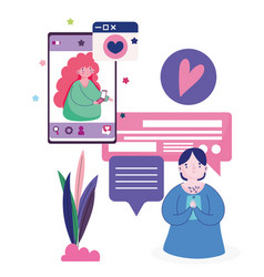 young man and woman chatting with smartphone vector image