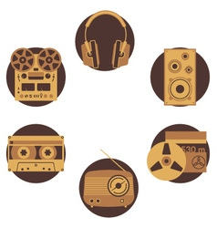 Brown music icons vector image vector image