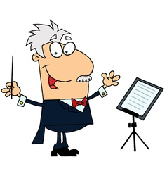 Caucasian Cartoon Music Conductor Man vector image