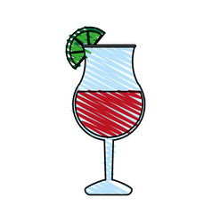 color crayon stripe cartoon glass cup of cocktail vector image vector image