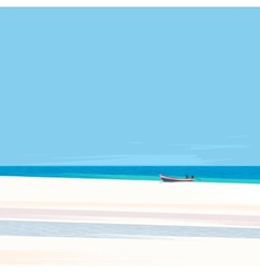 Fishing boat on a beach with white sand vector image