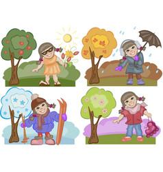 Girl Enjoying All the Seasons Set vector image