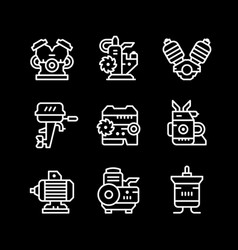 set line icons of motor and engine vector image vector image
