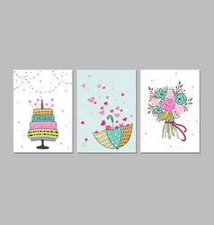 set of beautiful birthday love congratulation vector image