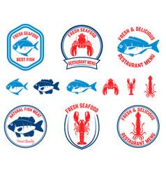 set of seafood emblems fish lobster squid design vector image vector image