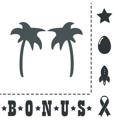 Two palm trees silhouette isolate vector