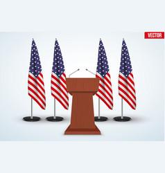Wooden Podium Tribune US flags vector image vector image