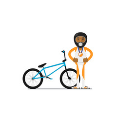 young african bicyclist with bike vector image