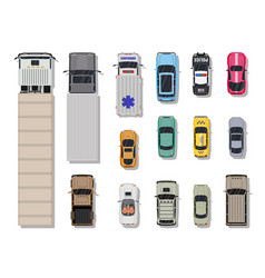 collection of various vehicles top view vector image vector image