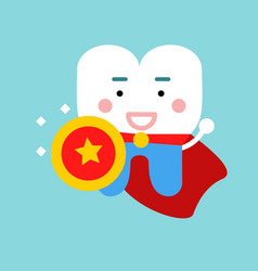 Cute cartoon tooth character as superhero dental vector