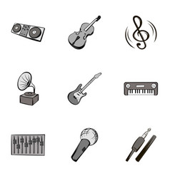 melody icons set gray monochrome style vector image vector image