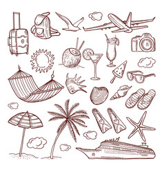 summer time theme in hand drawn style vector image vector image