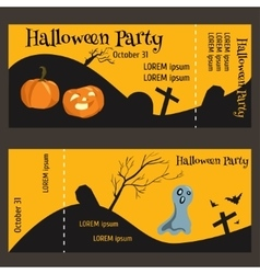 Ticket for halloween-party two-sided with a tear vector