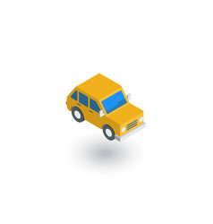 yellow car hatchback isometric flat icon 3d vector image vector image