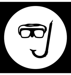 Diving goggles and snorkel black simple icon eps10 vector