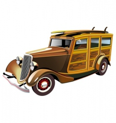 hot rod with surboards vector image vector image