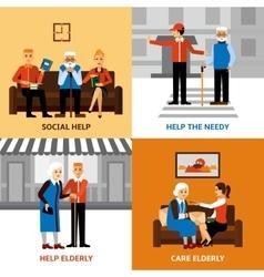 Volunteers People 2x2 Design Concept vector image vector image