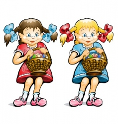 girl with basket of eggs vector image