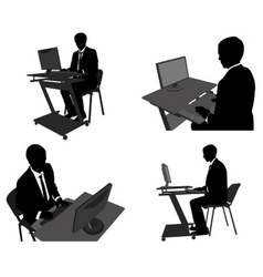man working on computer vector image
