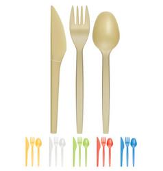plastic cutlery realistic 3d icon vector image vector image