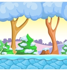 Seamless cartoon winter landscape with vector image vector image