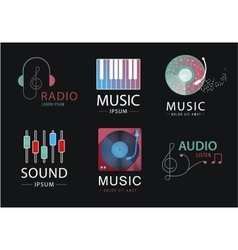 set of music logos icons signs isolated vector image