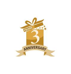 3 years gift box ribbon anniversary vector