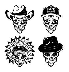 alien heads in different headdress set vector image