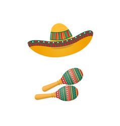 An of sombrero and maracas mexican traditional vector