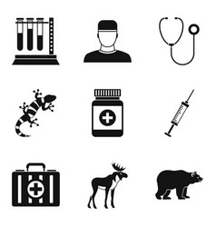 Animal care icons set simple style vector