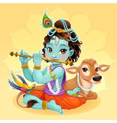 Bakrishna with sacred cow vector
